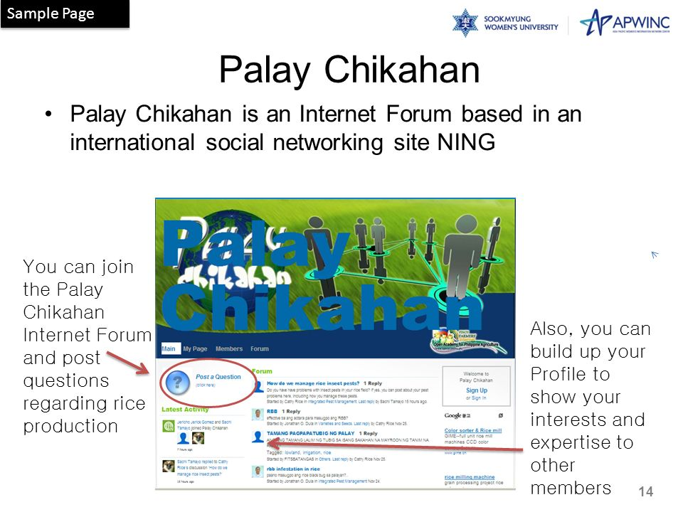 Sample Page Palay Chikahan. Palay Chikahan is an Internet Forum based in an international social networking site NING.