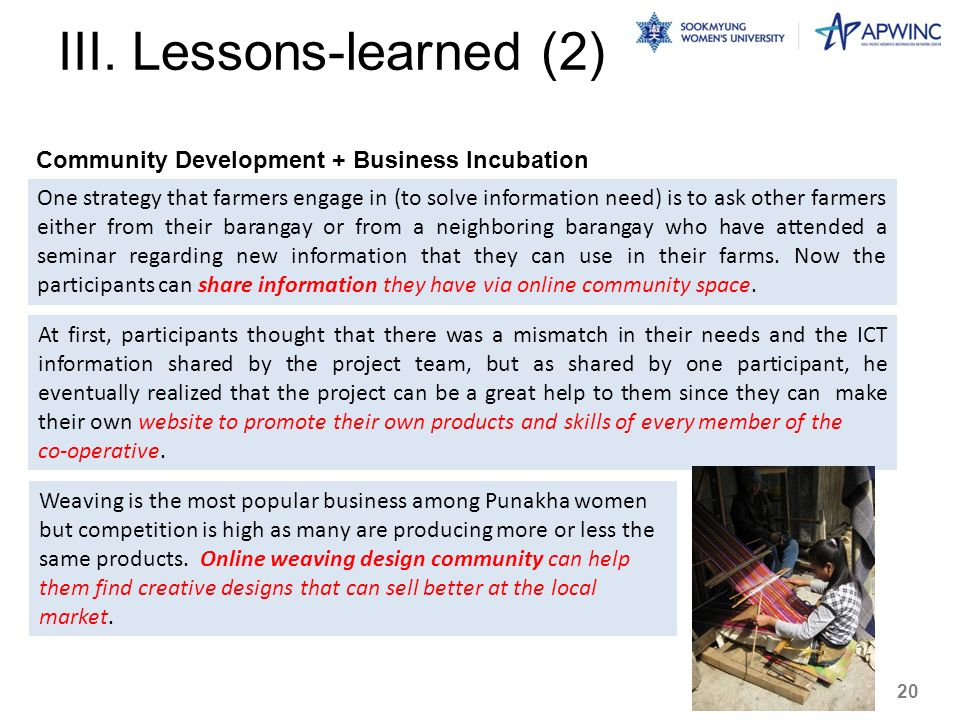 III. Lessons-learned (2)