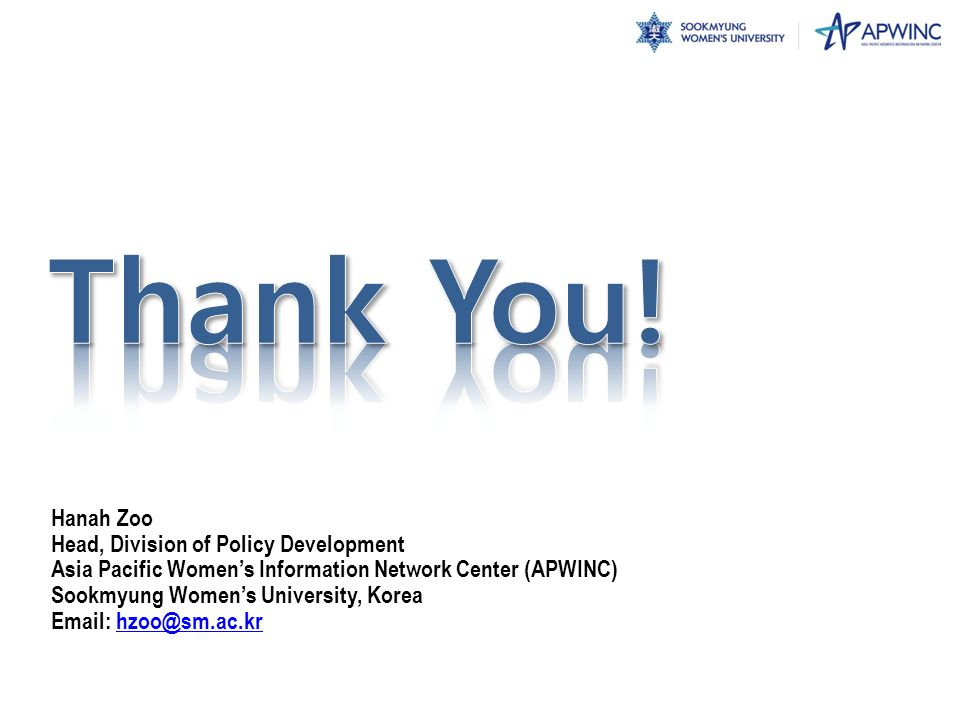 Thank You! Hanah Zoo Head, Division of Policy Development