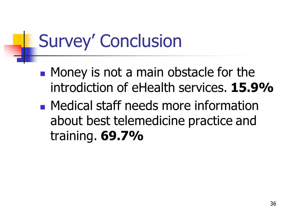 Survey' Conclusion Money is not a main obstacle for the introdiction of eHealth services. 15.9%