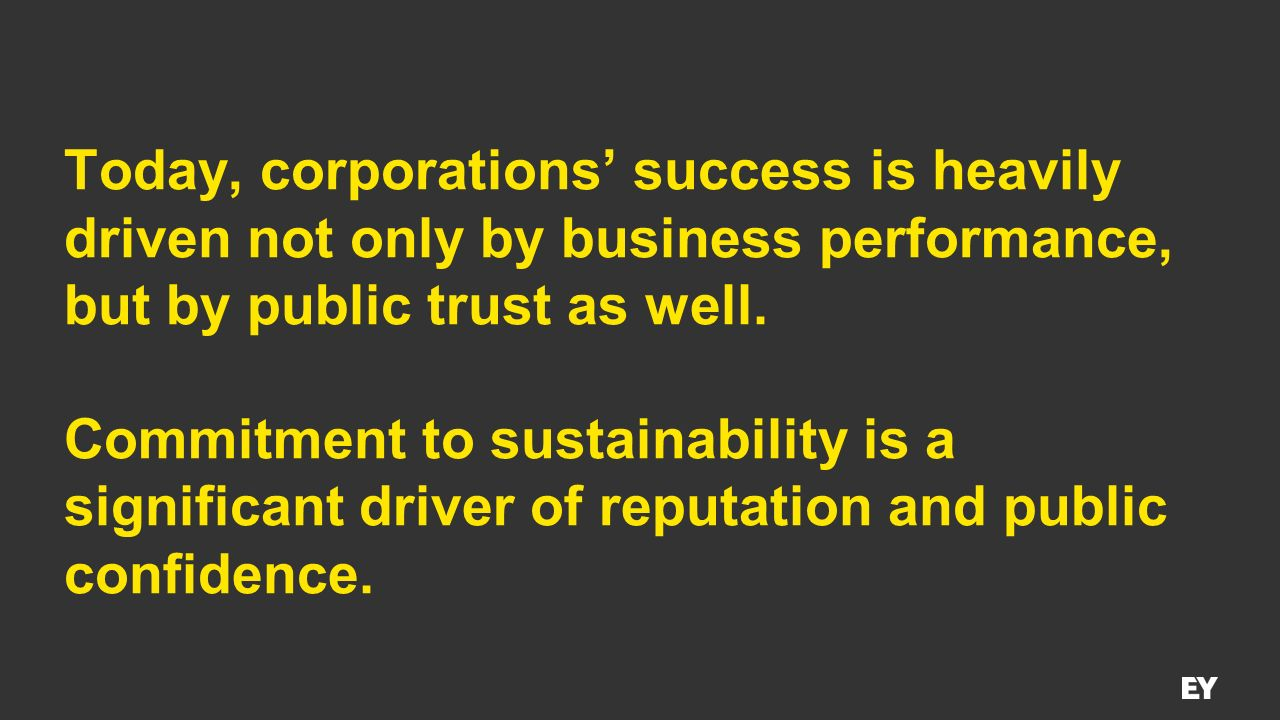 Today, corporations' success is heavily driven not only by business performance, but by public trust as well.
