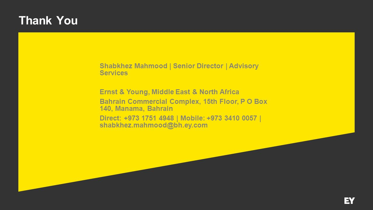 Thank You Shabkhez Mahmood | Senior Director | Advisory Services