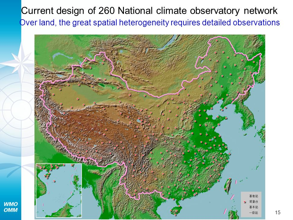 Current design of 260 National climate observatory network Over land, the great spatial heterogeneity requires detailed observations