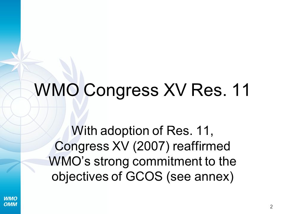 WMO Congress XV Res. 11 With adoption of Res.