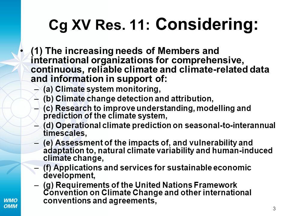 Cg XV Res. 11: Considering: