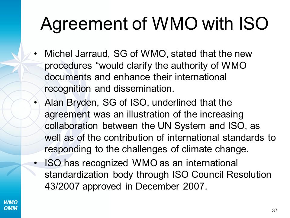 Agreement of WMO with ISO