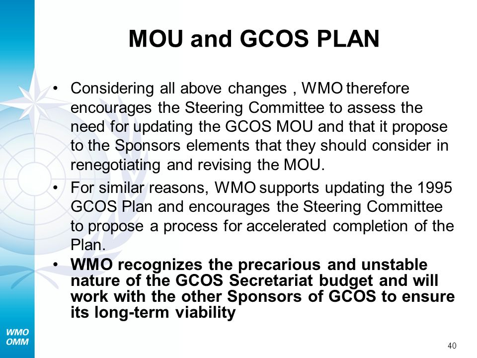 MOU and GCOS PLAN