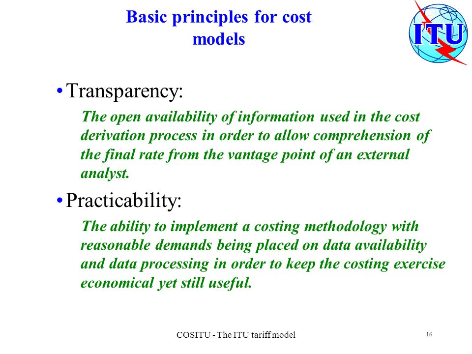 Basic principles for cost models