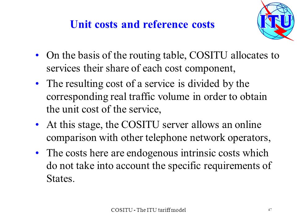 Unit costs and reference costs