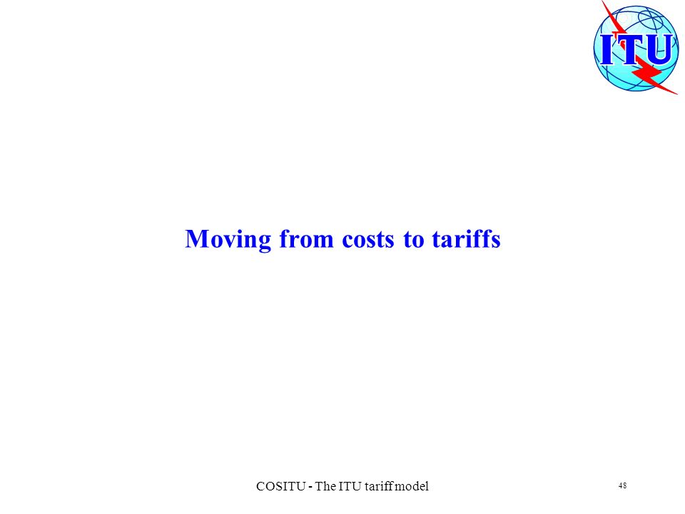 Moving from costs to tariffs