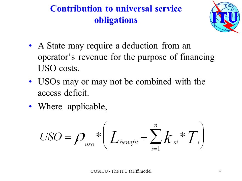 Contribution to universal service obligations