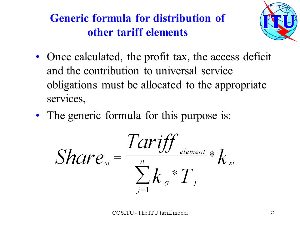 Generic formula for distribution of other tariff elements