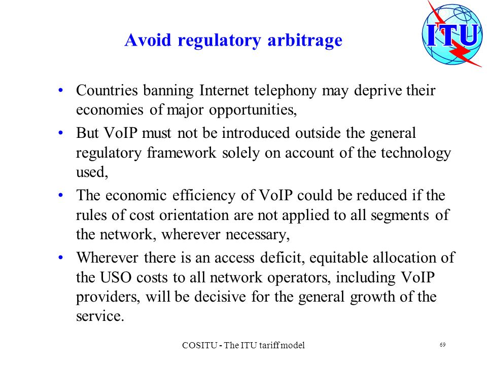 Avoid regulatory arbitrage