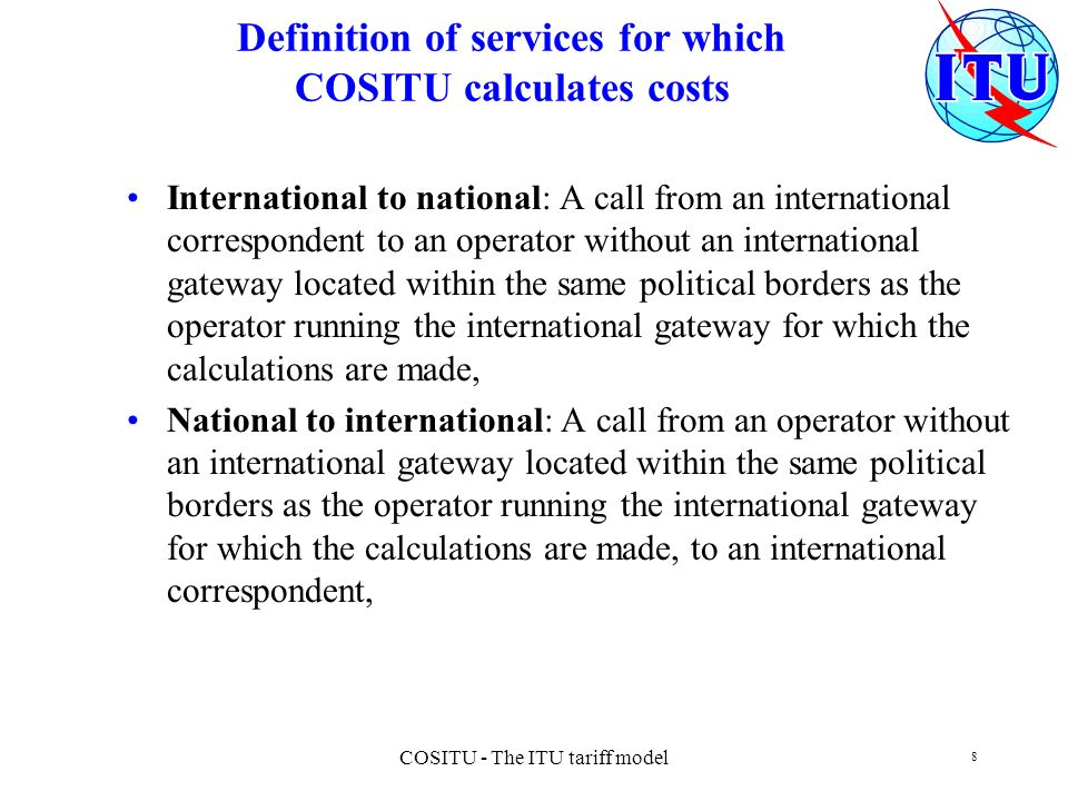 Definition of services for which COSITU calculates costs