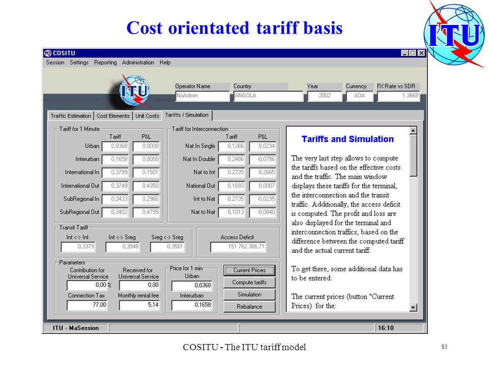 Cost orientated tariff basis