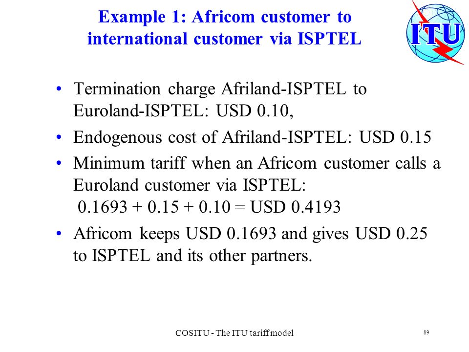 Example 1: Africom customer to international customer via ISPTEL