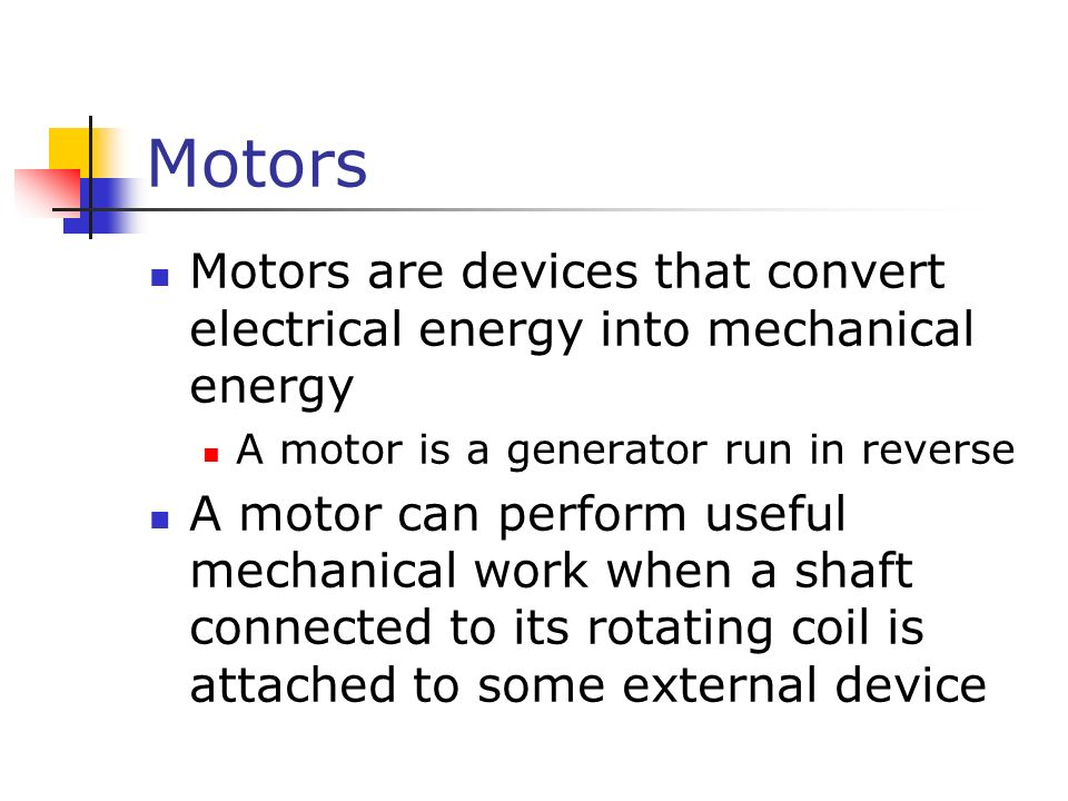 Induced voltages and inductance ppt video online download for Turn an electric motor into a generator