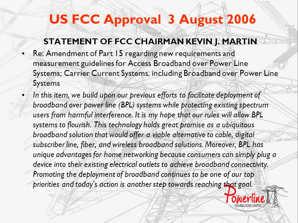 STATEMENT OF FCC CHAIRMAN KEVIN J. MARTIN