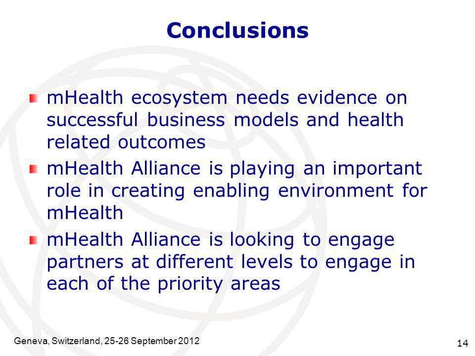 Conclusions mHealth ecosystem needs evidence on successful business models and health related outcomes.