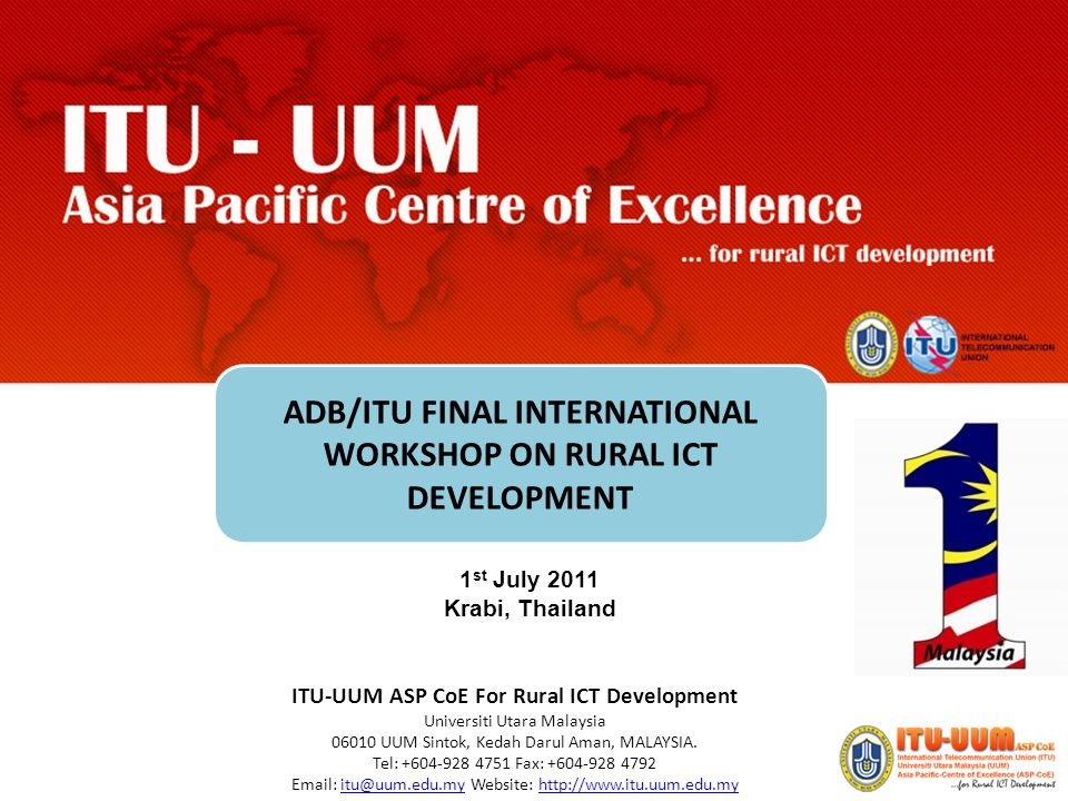 ADB/ITU FINAL INTERNATIONAL WORKSHOP ON RURAL ICT DEVELOPMENT