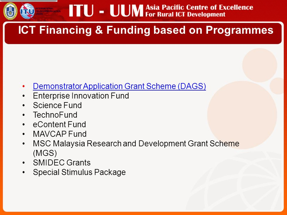 ICT Financing & Funding based on Programmes