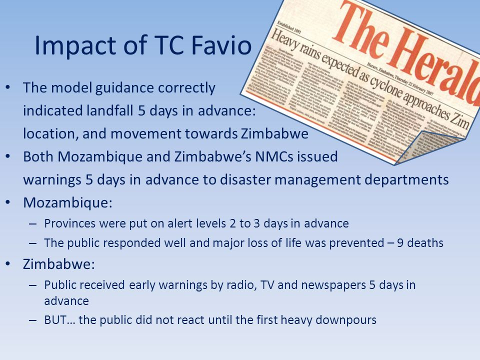 Impact of TC Favio The model guidance correctly