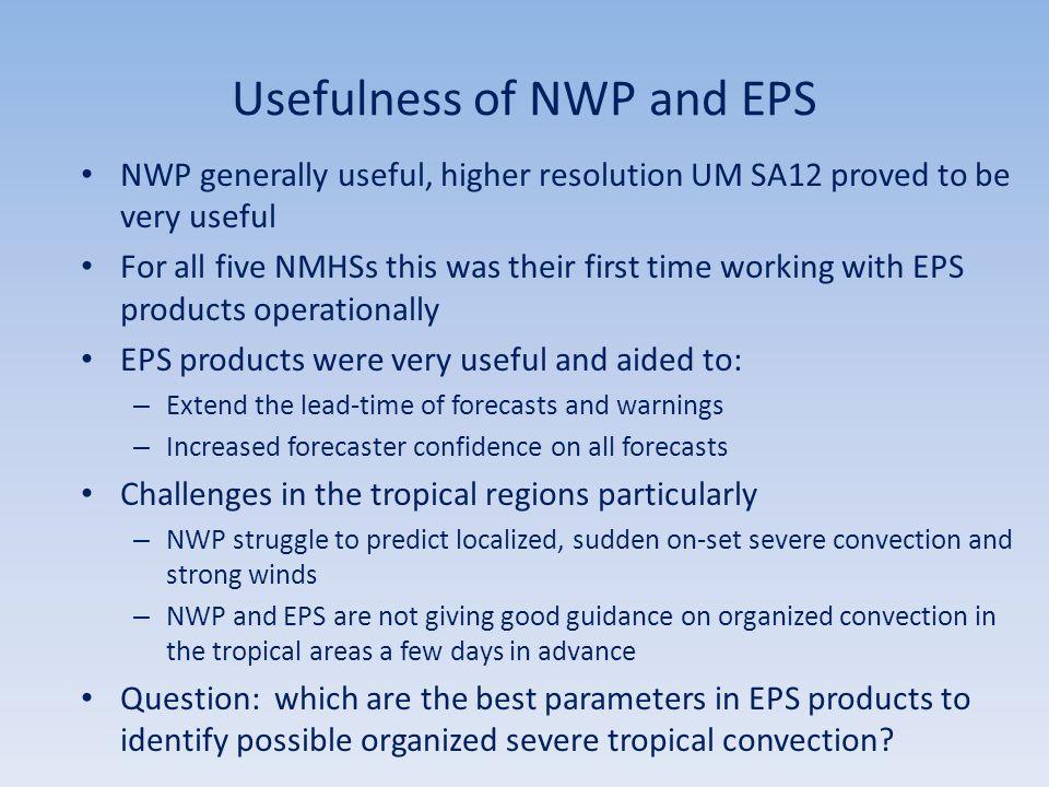 Usefulness of NWP and EPS