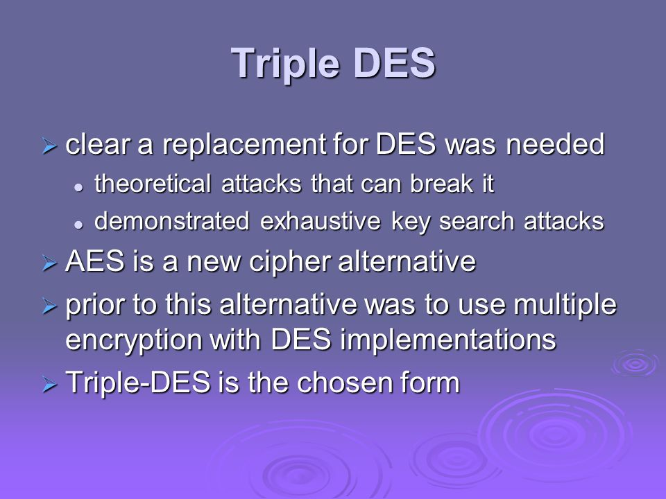 Triple DES clear a replacement for DES was needed