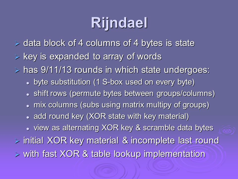 Rijndael data block of 4 columns of 4 bytes is state