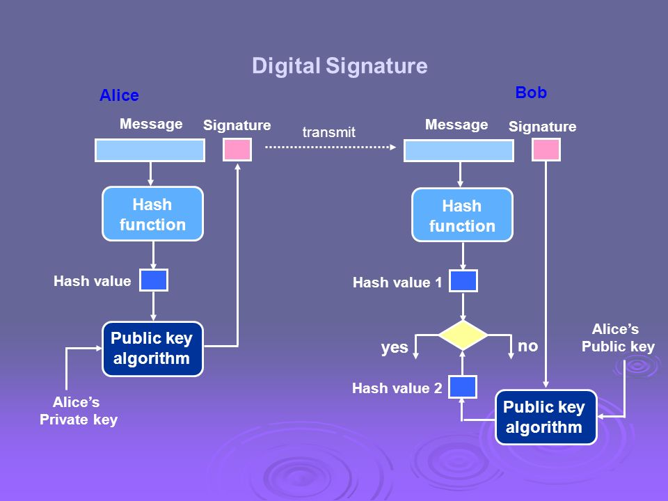 Digital Signature Bob Alice Hash Hash function function Public key