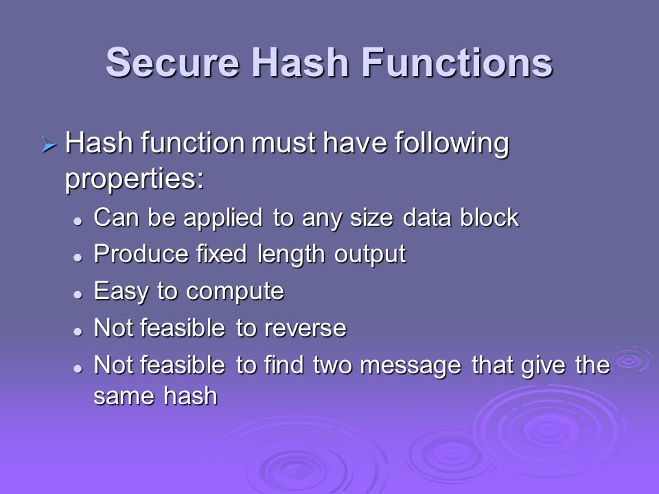 Secure Hash Functions Hash function must have following properties: