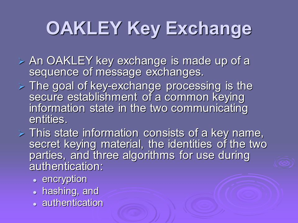 OAKLEY Key Exchange An OAKLEY key exchange is made up of a sequence of message exchanges.