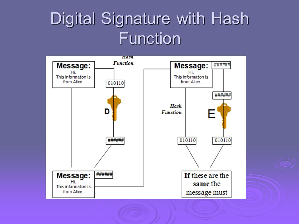 Digital Signature with Hash Function