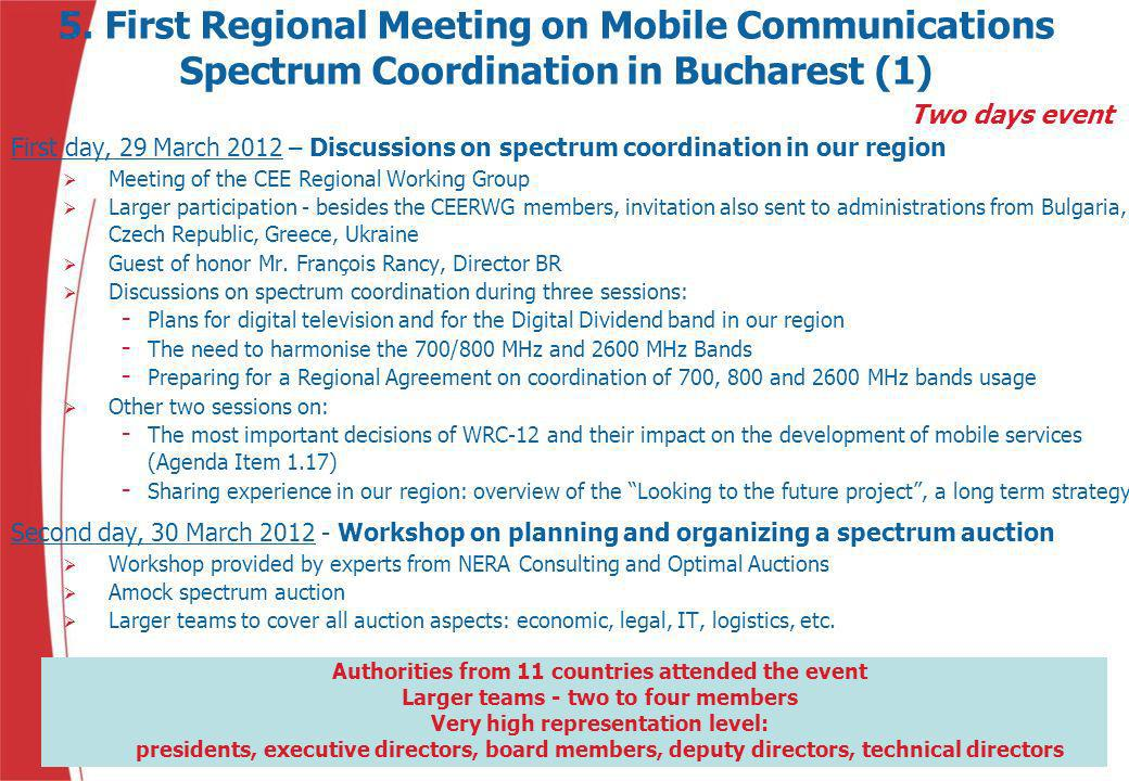 5. First Regional Meeting on Mobile Communications Spectrum Coordination in Bucharest (1)