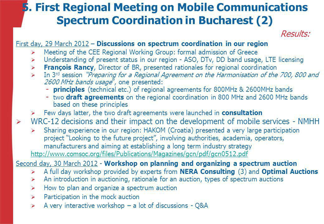 5. First Regional Meeting on Mobile Communications Spectrum Coordination in Bucharest (2)