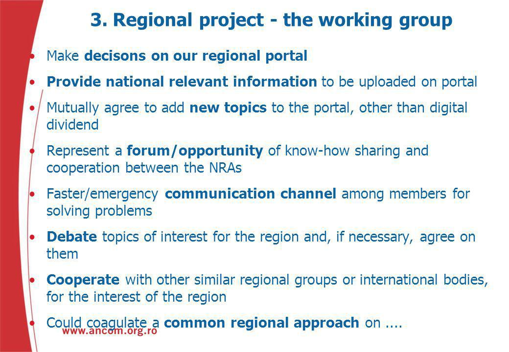 3. Regional project - the working group