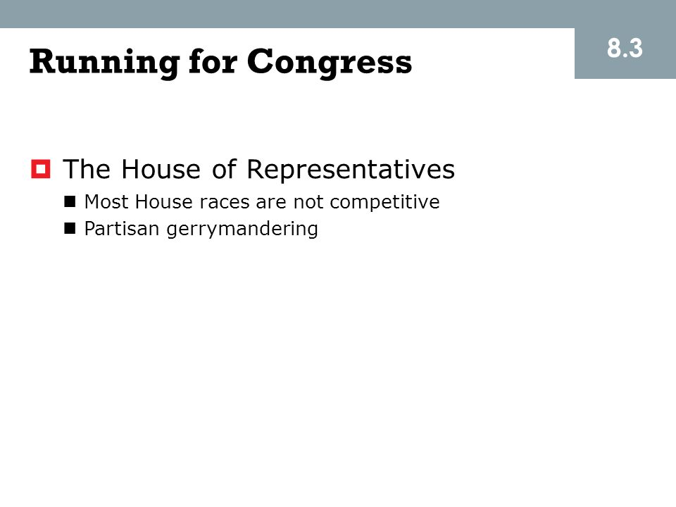 Running for Congress 8.3 The House of Representatives
