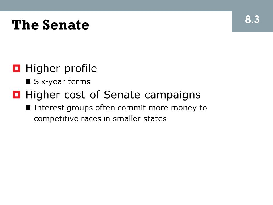 The Senate 8.3 Higher profile Higher cost of Senate campaigns