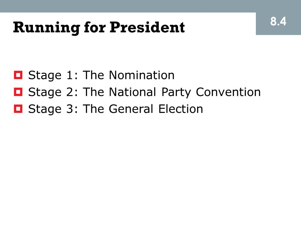Running for President 8.4 Stage 1: The Nomination