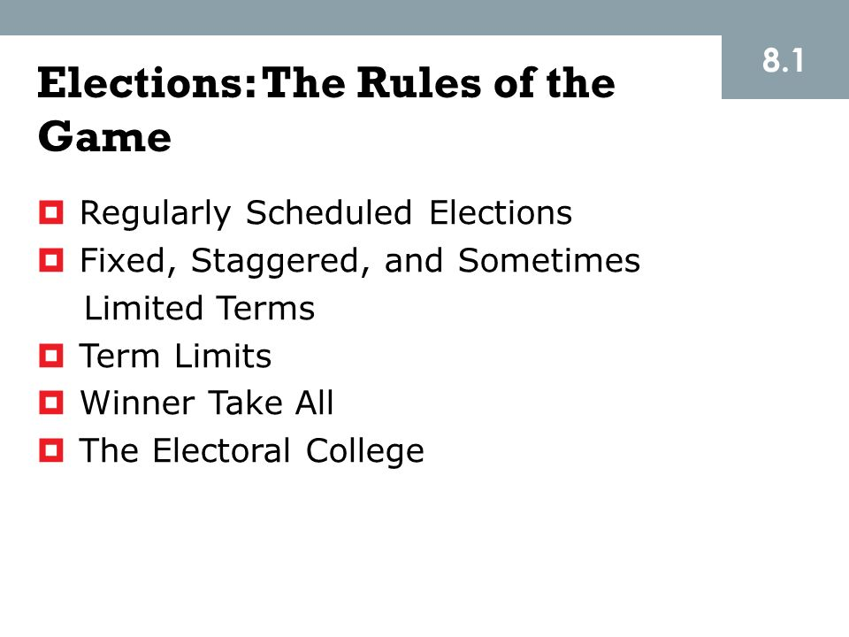 Elections: The Rules of the Game
