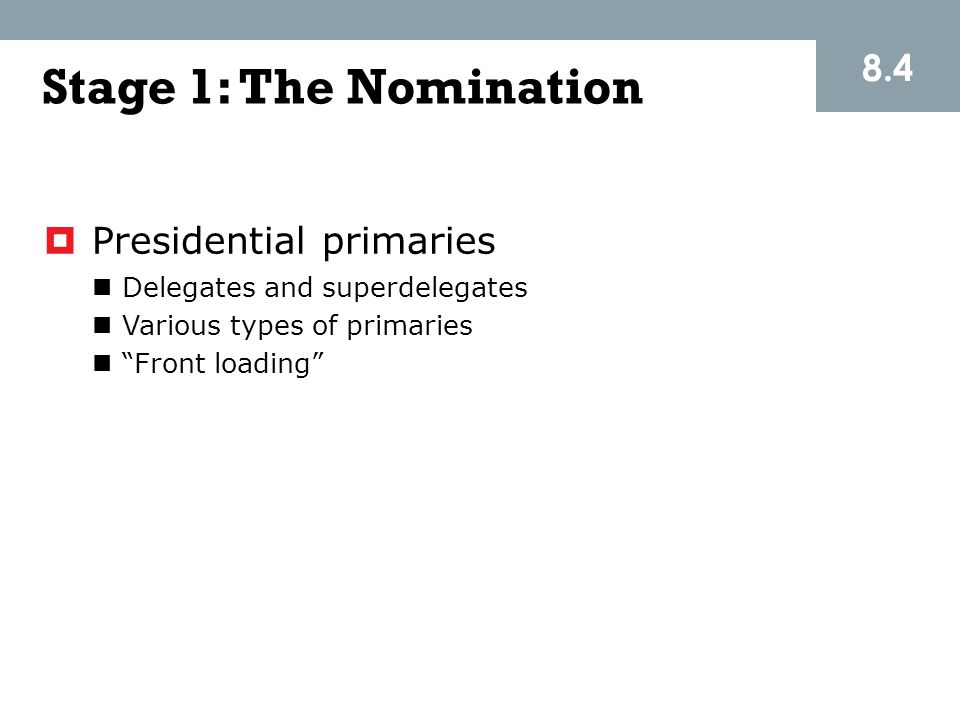 Stage 1: The Nomination 8.4 Presidential primaries
