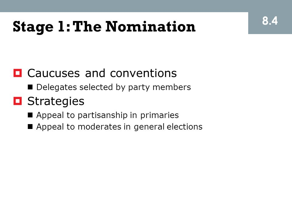 Stage 1: The Nomination 8.4 Caucuses and conventions Strategies