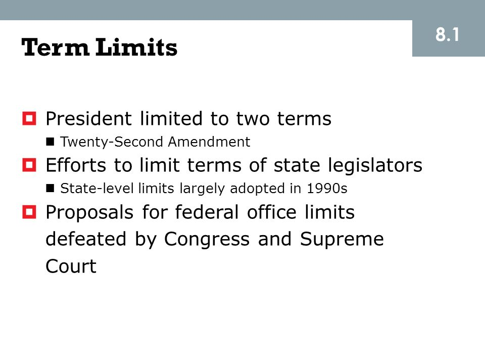 Term Limits 8.1 President limited to two terms