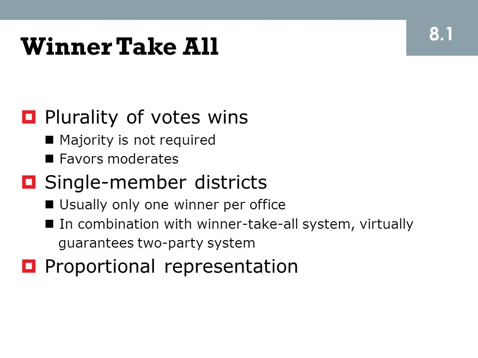 Winner Take All 8.1 Plurality of votes wins Single-member districts