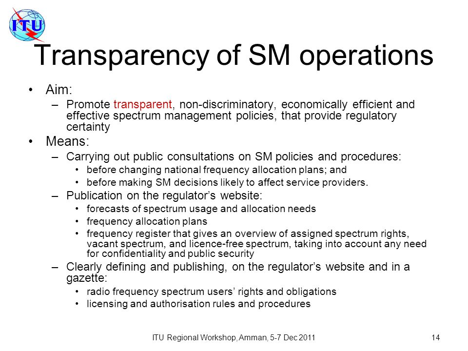 Transparency of SM operations