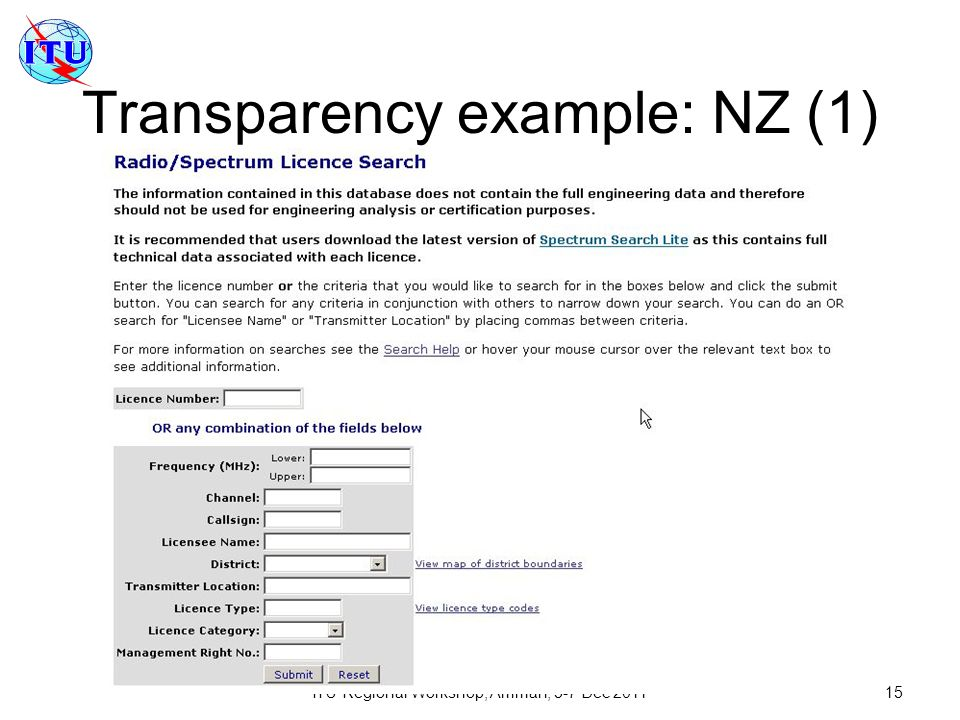 Transparency example: NZ (1)