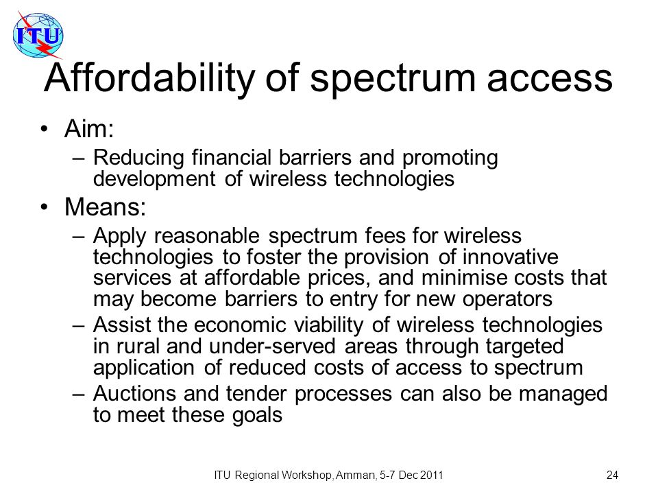 Affordability of spectrum access