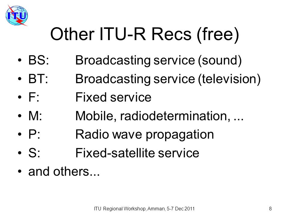 Other ITU-R Recs (free)
