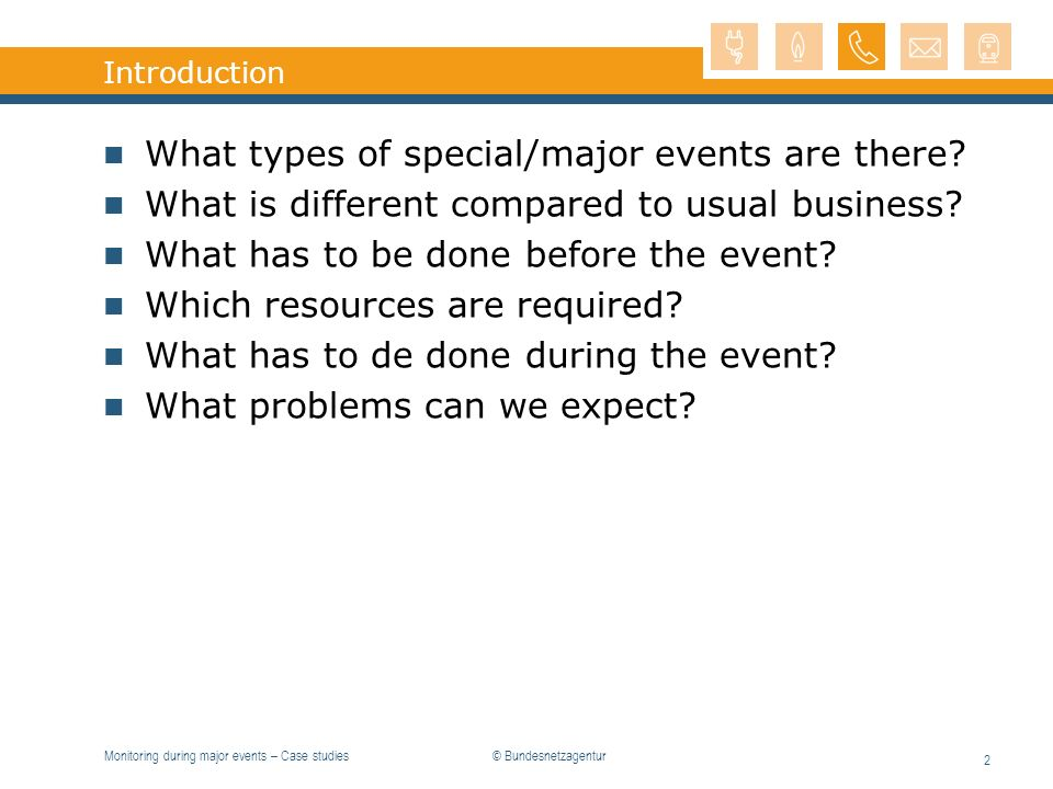 What types of special/major events are there