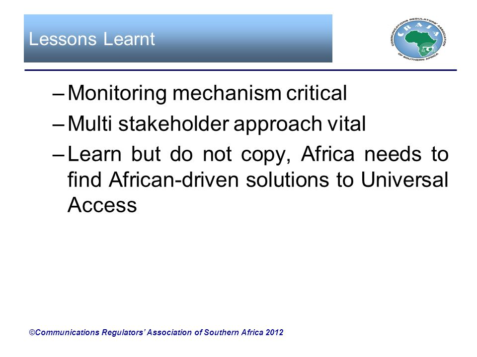 Monitoring mechanism critical Multi stakeholder approach vital